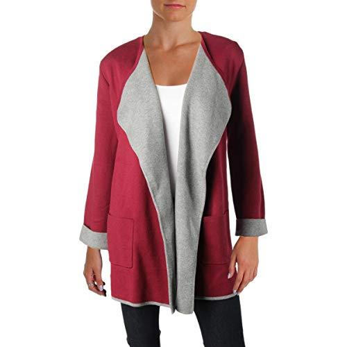 Alfani Womens Colorblock Open Front Cardigan Sweater Red - Sweater Alfani Red