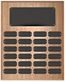 24 Plate Perpetual Plaque 15''x12'' FREE CUSTOM ENGRAVING Oak Finish with Black Plates