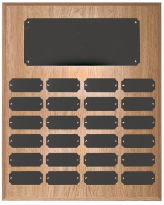 24 Plate Perpetual Plaque 15''x12'' FREE CUSTOM ENGRAVING Oak Finish with Black Plates by J & C Baseball Clubhouse