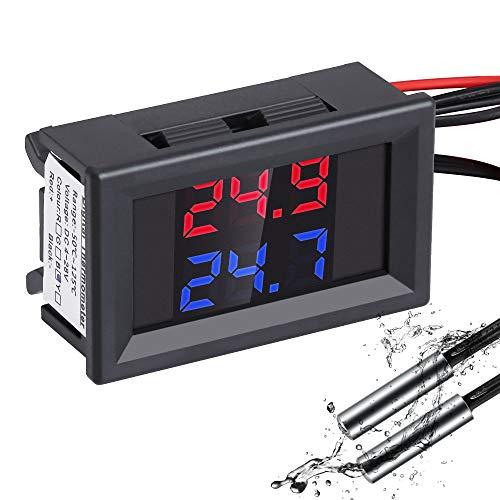 YEMIUGO Digital Thermometer DC4-28V LCD Dual Display Temperature Gauge Sensor with 2 NTC Waterproof Probes for Fish Tank Refrigerator