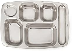Aspire Dinner Plate For Cafeteria 304 Stainless Steel Divided Tray 1 Pc - 6 Sections  sc 1 st  Amazon.com & Amazon.com: Rectangular - Plates / Dining \u0026 Entertaining: Home \u0026 Kitchen