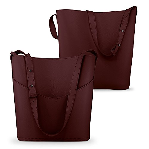 Oct17 Women Faux Leather Bucket Tote Shoulder Bag Fashion Ladies Handbag Purse with Small Bag - Wine -