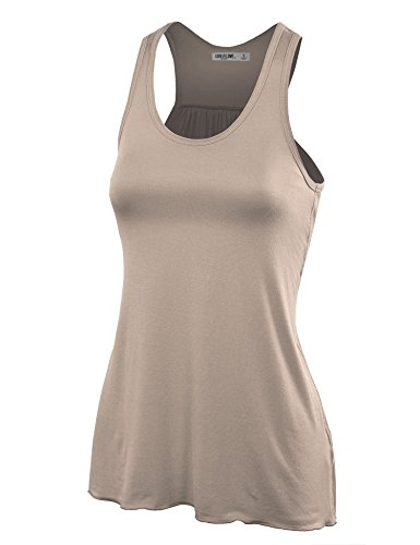WT830 Womens Everyday Racer Tank L TAUPE