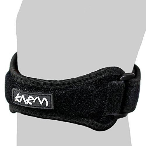 KARM Patella Jumpers Knee Strap (1 pc) - Best for Arthritis, Osgood Schlatter, Meniscus Tear, Running. Adjustable Patellar Tendonitis Support Stabilizer for Women, Men, Kids (Regular Size)