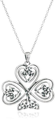 (Sterling Silver Oxidized Celtic Knot Shamrock Clover Pendant Necklace, 18
