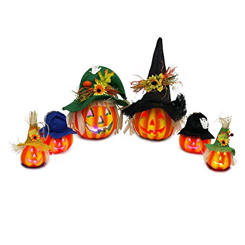 JOYIN Set of 6 Light up Halloween Jack-o'-Lantern