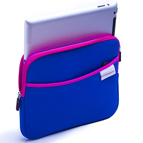 Neoprene Tablet Sleeve Pouch Bag (up to 10.1 Inches) for iPad Waterproof & Shockproof Case with Side Storage Pocket