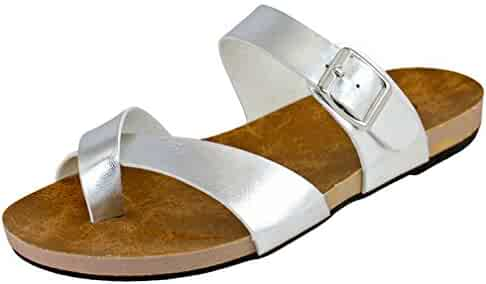 f1011f1e008e8c Cambridge Select Women s Strappy Cross Over Buckle Toe Ring Flat Slide  Sandal