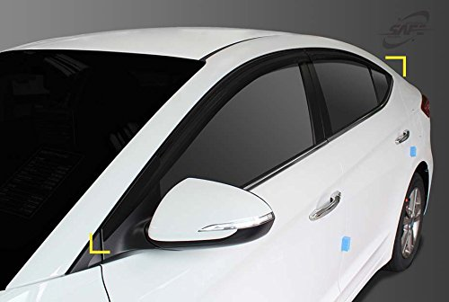 SAFE Smoked Window Visor Sun Rain Vent Guard 4p for 2019 Hyundai Elantra 4door Sedan -