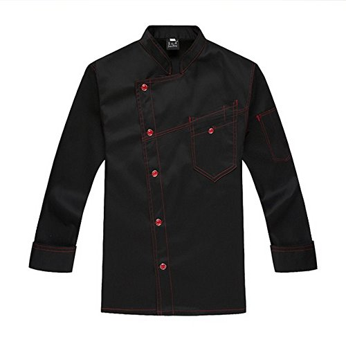XinAndy Men's Denim Style Chef Coats Long sleeves