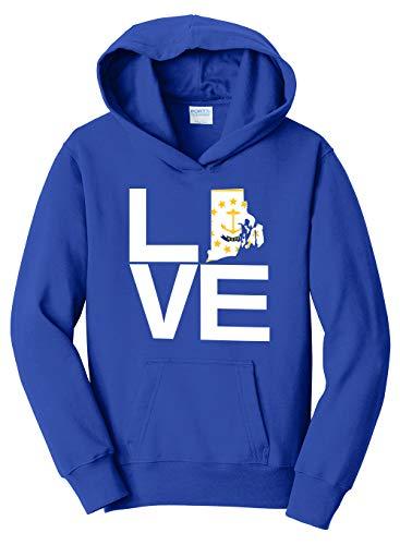 Kids Hoodie Island - Tenacitee Girl's Youth Love Rhode Island Hooded Sweatshirt, Medium, Royal Blue