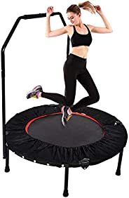 """YUSING 40"""" Mini Trampoline Rebounder, Portable & Foldable Exercise Trampoline with Handrail for Adult"""