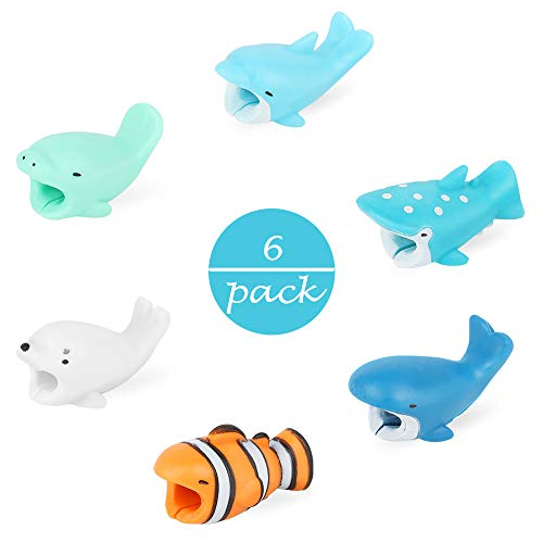 LIANTRAL Phone Cable Protector Charger Saver Cable Cute Marine Organism Fish Bites Cable Cell Phone Accessories for iPhone, Ipad, Mac -6pcs