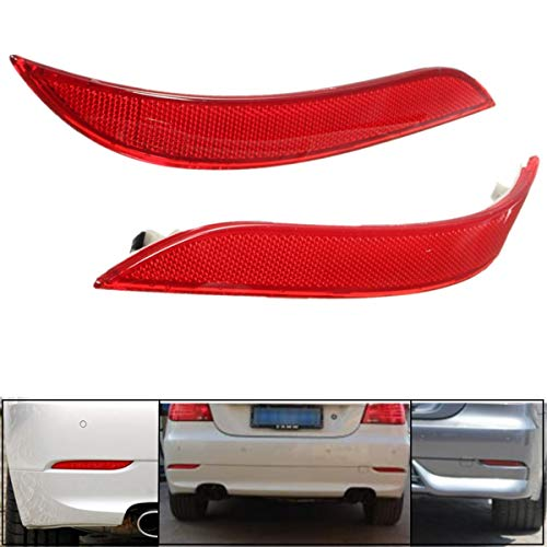 - 2x Red Rear Left & Right Bumper Reflector Tail Lights Bars Brake Parking Warning Bumper Lamb for BMW 5 Series E60 2003-2007