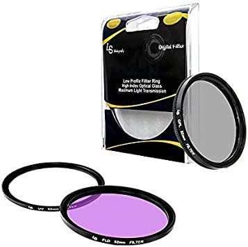 LGG13 ,Carry Pouch,Tulip Lens Hood,Snap-On Lens Cap,Cap Keeper Leash UV, CPL, FLD LS Photography 52mm Lens Filter Accessory Kit for DSLR Camera Filter 16 Gray SuperFiber Lens Cleaning Cloth