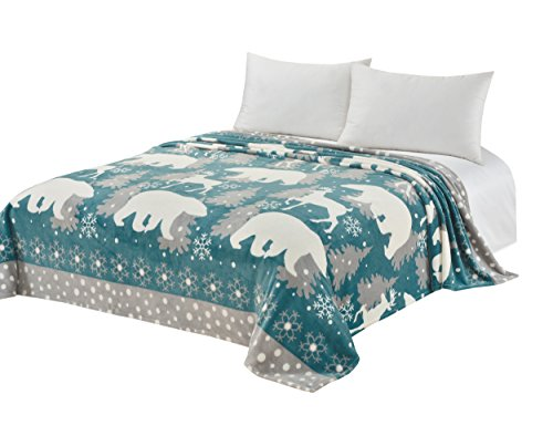 CaliTime Super Soft Throw Blanket for Bed Sofa Couch, Cozy Warm Flannel Fleece White Polar Bear Christmas Reindeer, Teal Grey, Queen (Reindeer Flannel)