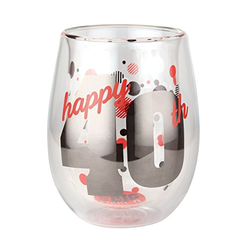 (Top Shelf TS-8114AR Double Wall Stemless 40th Birthday Glass, Multicolor, Red or White Wine, Unique & Fun Gift Ideas for Him or Her, 13oz, )