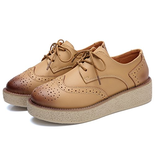 Round Hoxekle Brown Style Heel Oxford Vintage Toes Womens Shoes Shoes High Lace Perforated British Oxford Sg5gAw6q
