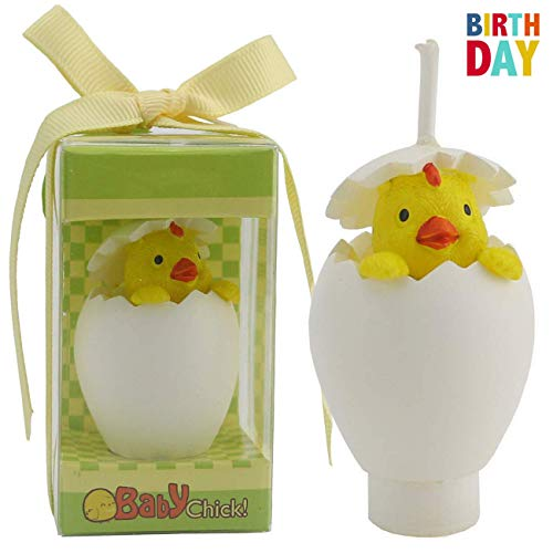 TIHOOD Creative Chick Cartoon Birthday Candle, Smokeless Chicken Cake Candle and Party Supplies, Hand-Made Cake Topper Decoration, Great Gift ()