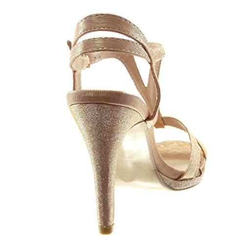 Tacco Sandali 10 Donna Angkorly Cinturino Incrociate Scarpe con Stiletto Moda Alto Lucide Champagne Tacco Decollete cm Paillette Cinghie Stiletto EnwBOxBaqC