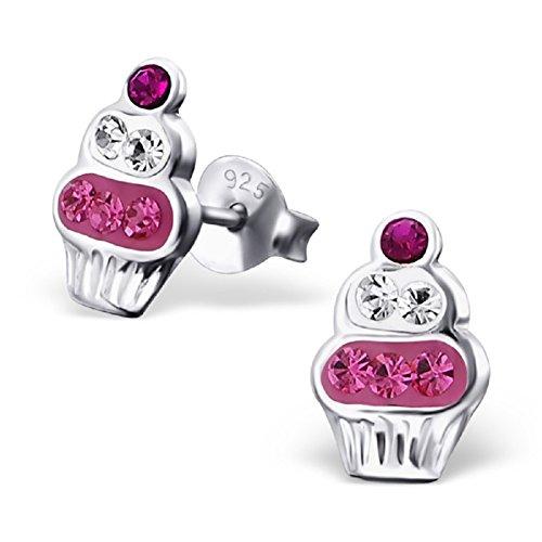 Laimons - Boucles d'oreille pour enfant - argent sterling 925/pierre brillante - gâteau - blanc/rose