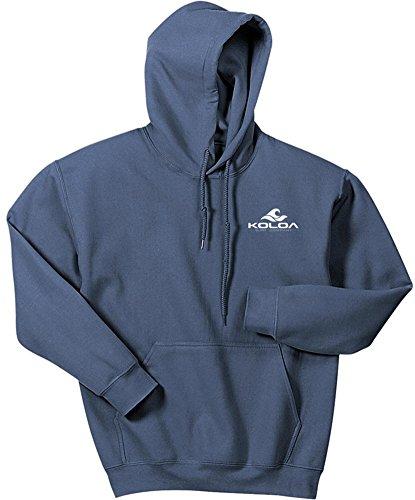 Hoody Classic Sweatshirt Blue Logo - Koloa Classic 2 Side Wave Logo Hoodies-Hooded Sweatshirt-Indigo.Blue-L