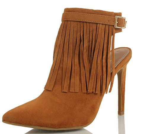 Anne Michelle Women's Stepup Pointy Toe Fringe Open Back High Heel, Chestnut, 9 M US (Chestnut, 7 M US Women) (Michelle Boots D)