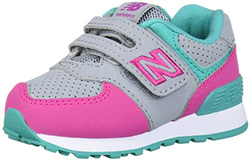 New Balance Girls 574v1 Hook and Loop Sneaker, Steel/Carnival , 9 T M US Infant (0-12 Months)