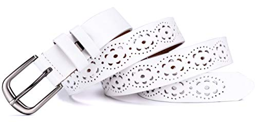 Ayli Women's Jean Belt, Classic Metal Buckle Hollow Flower Handcrafted Genuine Leather Belt, White, Fits Waist 32'' to 39'' (US Pant/Dress Size 8-20), bt6c005wh110 by As You Like It (Image #2)