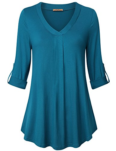 MCKOL Long Sleeve Shirt, Women's Maternity Clothing V-Neck Flowy A-Line Casual Womens Workout Pleated Stretch Knit Basic Comfy Swing Tunic Tops Blouse(Dark (Stretch Knit Blouse)