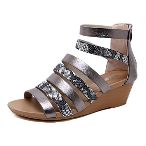 (Save 15% BBesty Women's Summer Roma Snake Wedges Peep Toe Zipper Roman Sandals Casual Shoes Gray)