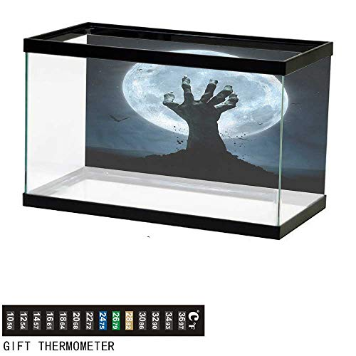 bybyhome Fish Tank Backdrop Halloween,Zombie Grave,Aquarium Background,48