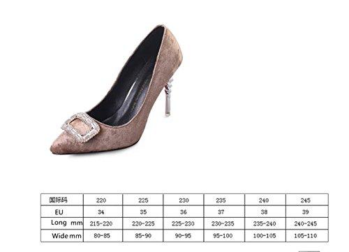Ein bißchen 2018 Damen Bunte Malerei High Heels Pumps OL Business Arbeitschuhe Khaki