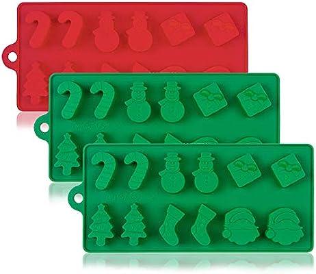 YuCool 3 moldes de silicona para tartas de Navidad, chocolate, dulces, jaleas, bandejas de horno antiadherentes para decoración de fiestas, ...