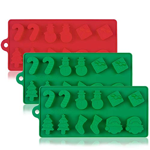 3 Pack Silicone Christmas Cake Chocolate Candy Jelly Molds, DanziX Non-Stick Baking Trays Pan for Party Decoration, Xmas Gift,with Shape of Christmas Tree, Santa Head - Red,Green