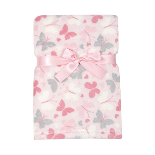 Baby Gear Plush Velboa Ultra Soft Baby Girls Blanket 30 x 40, Pink Butterfly by Baby Gear