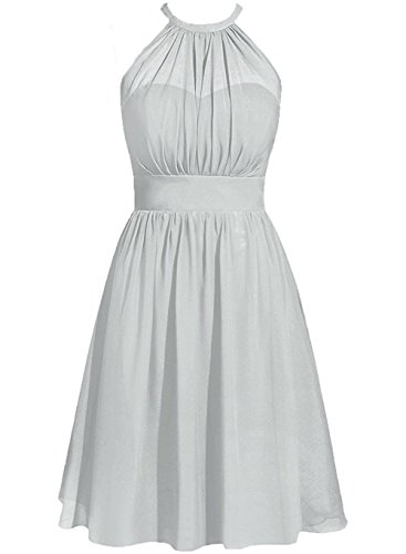 ModeC Bridesmaid Dress Party Gown Wedding Guest Dresses Halter Chiffon Knee Length Silver US6