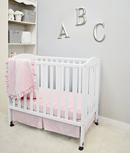 American Baby Company Heavenly Soft Minky Dot 3-Piece Mini/Portable Crib Bedding Set, Pink