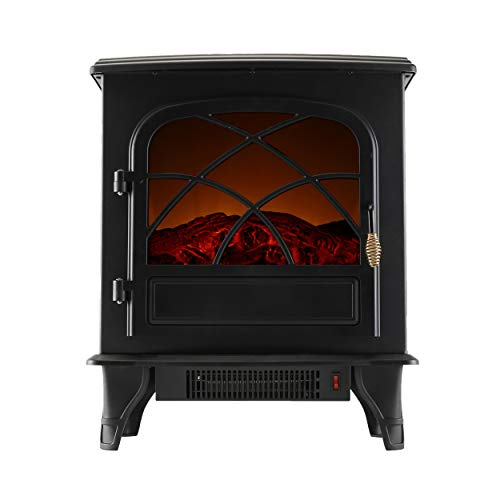 Caesar Fireplace FP203-T3 Fireplace Heater with Thermostat for Office 1500W Portable Indoor Home Compact Electric Wood Stove, Black
