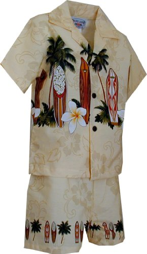 Pacific Legend Boy's Hibiscus Surfboard Hawaiian Cabana Shirt