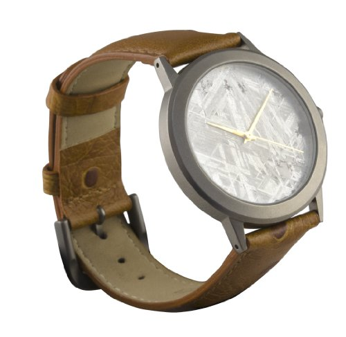 Starborn Creations Genuine Gibeon Meteorite Large 30 mm Face Watch with Brown Leather Band