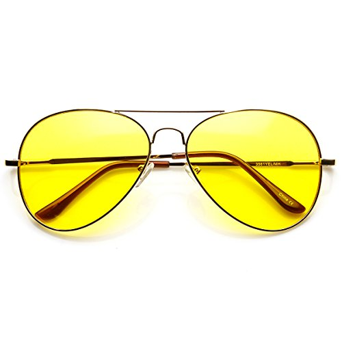 Replica Sunglasses Brown (Classic Metal Frame Yellow Tinted Night Driving Aviator Sunglasses (Gold-Brown Yellow))