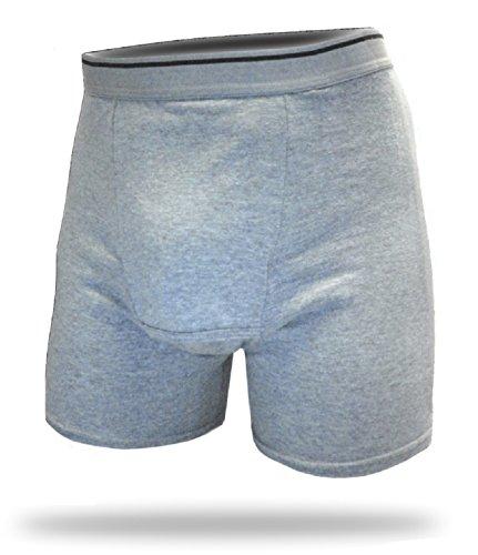 A50 Dri-Jock Incontinence Underwear Washable Boxer Brief for Men,Heather Gray,XX-Large / 44-46
