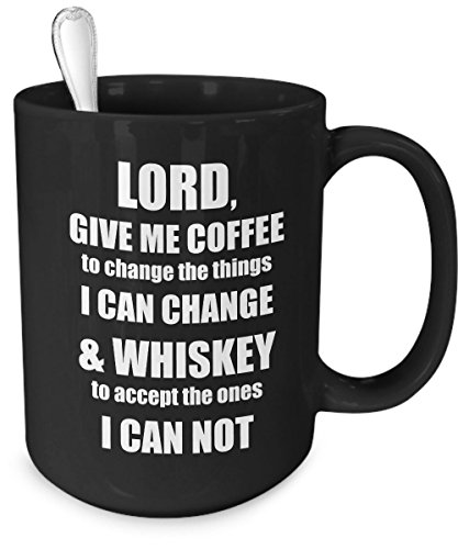 FLASH SALE - Lord Give Me Coffee Funny Whiskey Mug - Large 15 oz - Great Gift Idea and - Glass Police Cooling