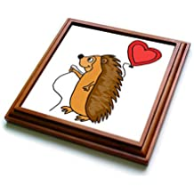 3dRose All Smiles Art Love - Funny Cool Hedgehog with Love Balloon Cartoon - 8x8 Trivet with 6x6 ceramic tile (trv_265133_1)