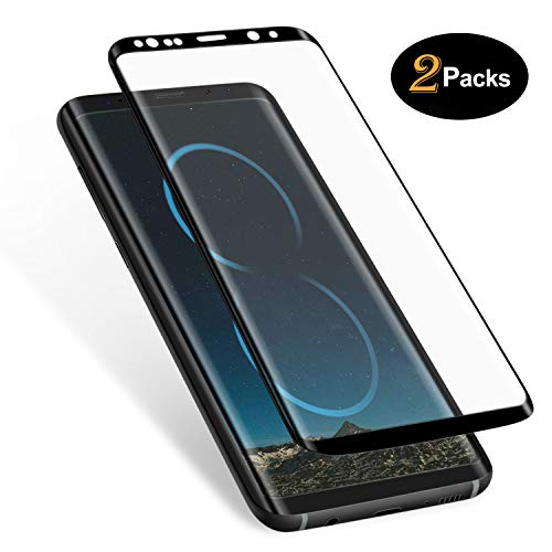Basesailor Galaxy S8 Plus Screen Protector (2 Pack), Anti-Scratch, HD Clear, Case Friendly 3D Curved Protective Tempered Glass Cover for Samsung Galaxy S8 8 Plus (Not Galaxy S8) (Black)