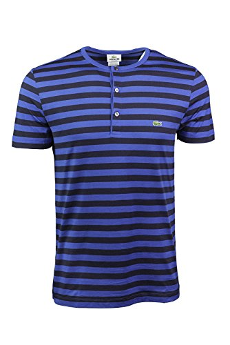 Lacoste Mens Short Sleeve Striped Henley T-shirt - Royal Blue/navy (Lacoste Cotton Henley)