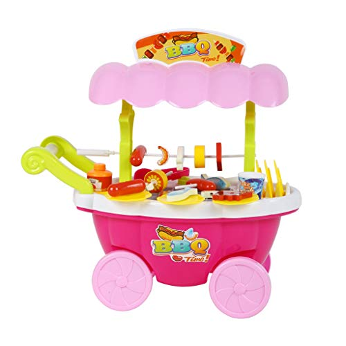 BJLWTQ Children's Simulation Supermarket Shopping Cart Trolley Barbecue Machine Girl Child Pretend Play Toy, Blue and Pink (Color : Pink) by BJLWTQ Toddlers kids toys (Image #3)