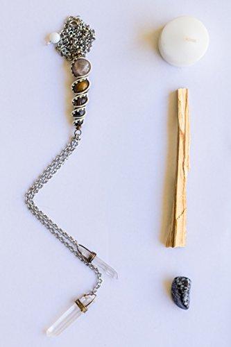 Crystal Healing Wire Wrapped Stone Totem Choker Bolo Style Pegasus with Moonstone, Tigers Eye, Smokey Quartz, Volcanic Rock, Larvikite, Quartz