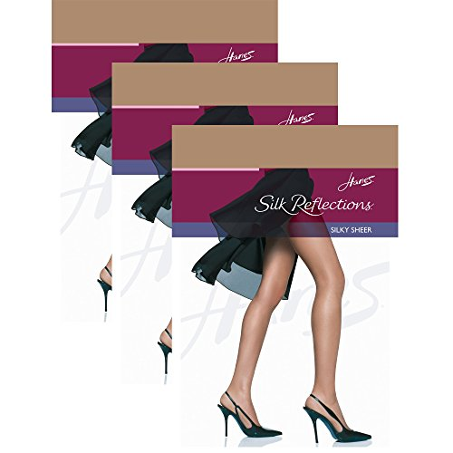 Hanes womens Silk Reflections Reinforced Toe Pantyhose(00716)-Barely There-CD-3PK -